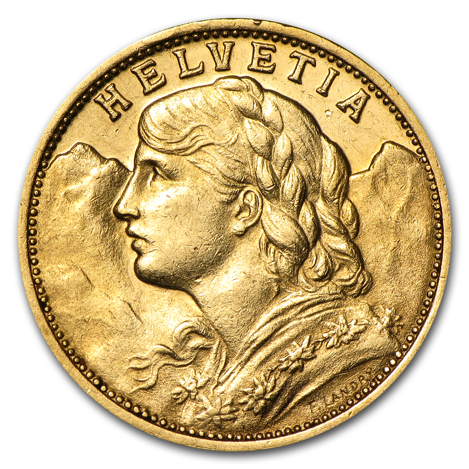 1904-1907 Switzerland Gold 20 Francs AU/BU