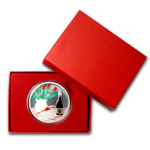 1 oz Silver Round - Candy Heart (Enameled,w/Box & Capsule)
