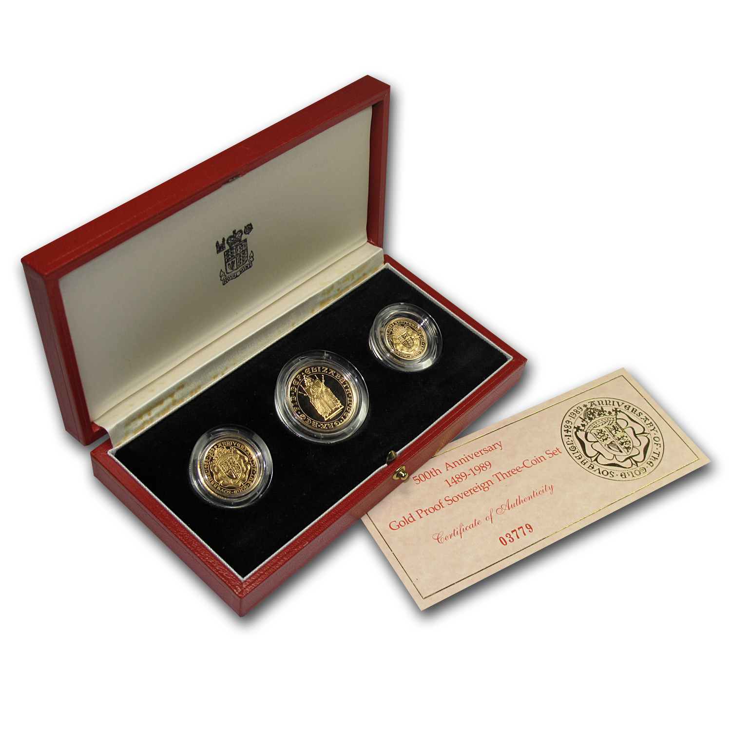 1989 Great Britain 3-Coin Gold Sovereign Anniversary Proof Set