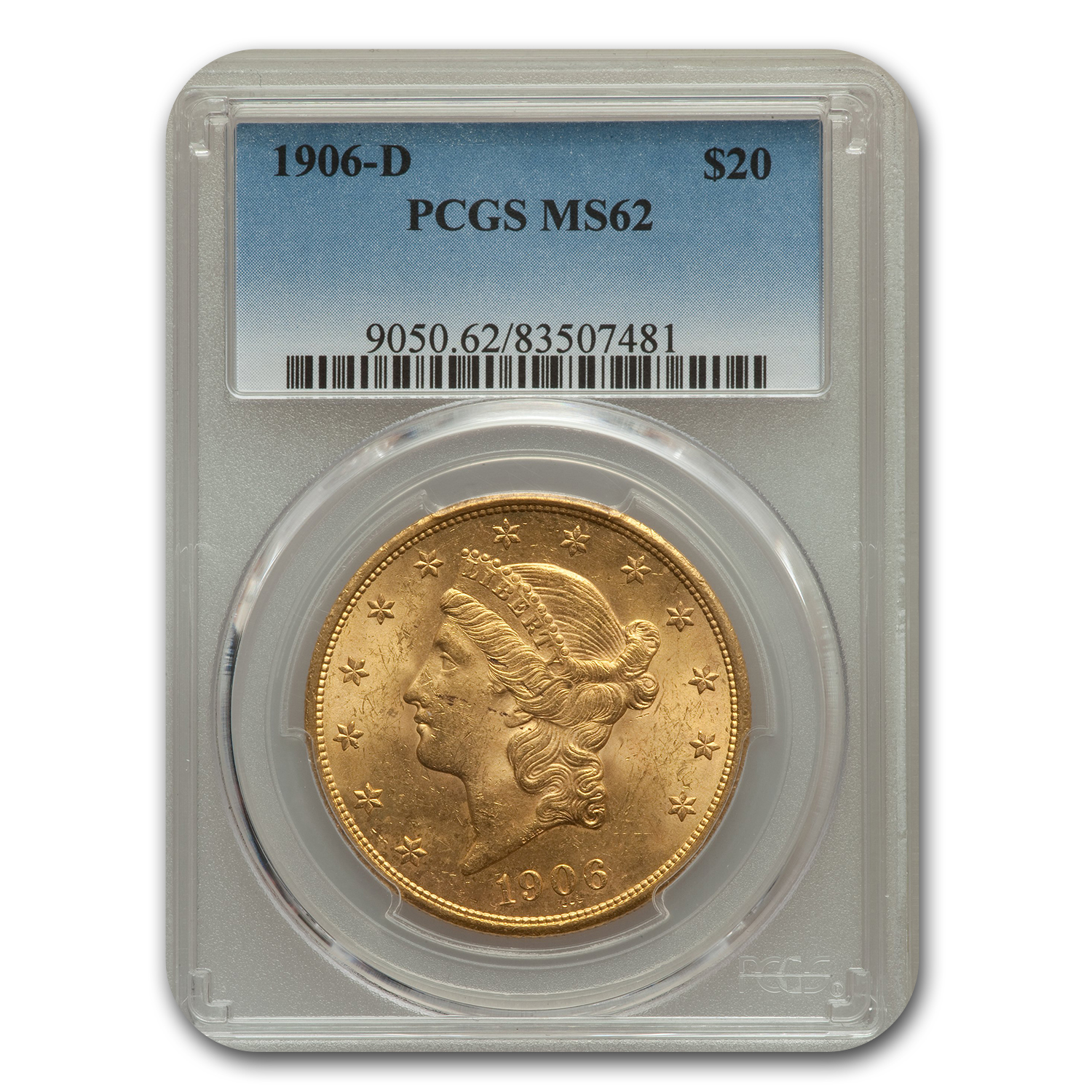 1906-D $20 Liberty Gold Double Eagle MS-62 PCGS