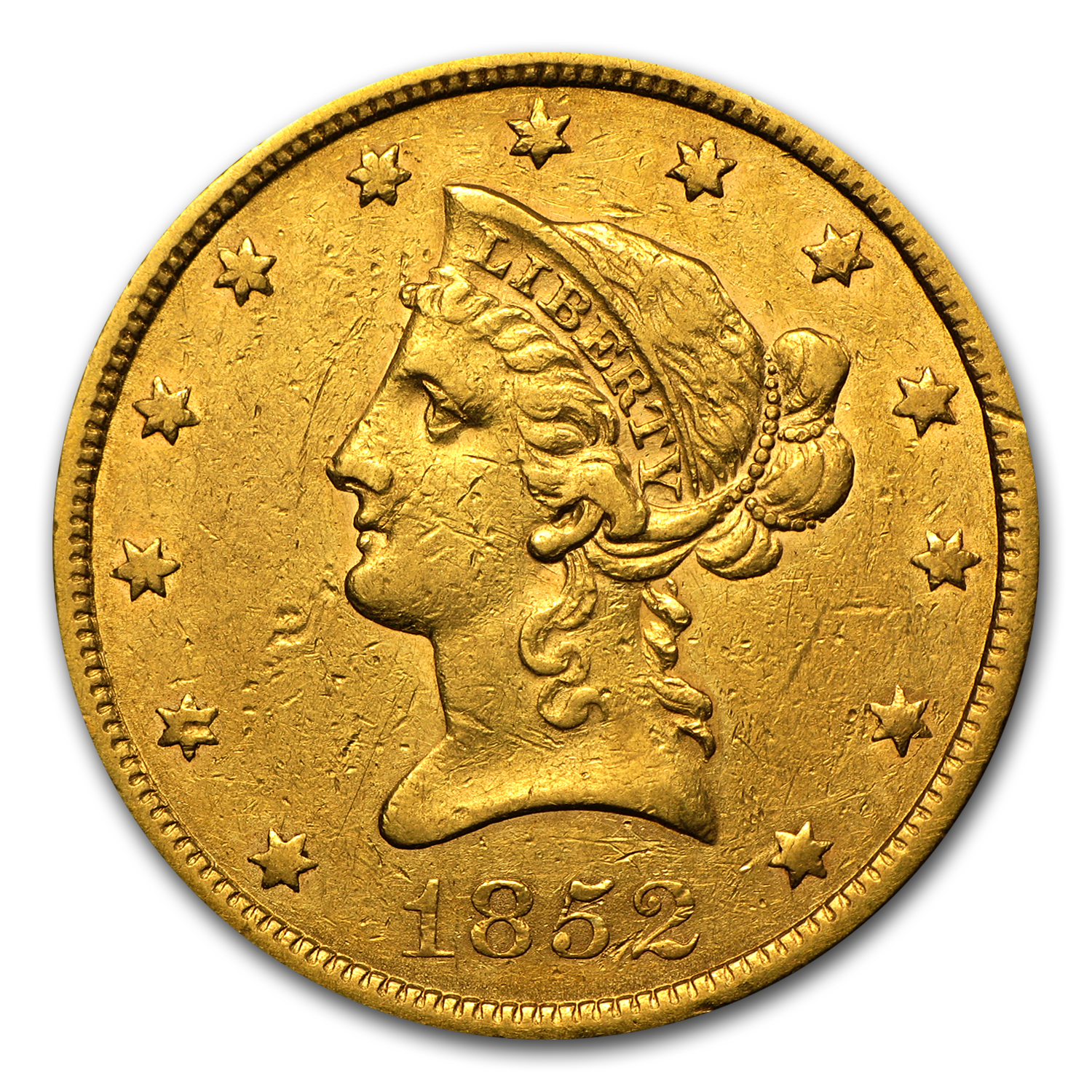 1852 $10 Liberty Gold Eagle XF