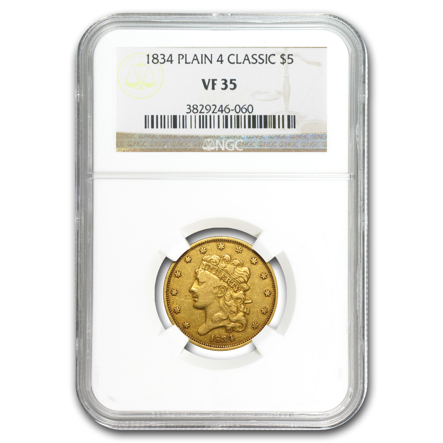 1834 $5 Gold Classic Head Half Eagle - Plain 4 - VF-35 NGC