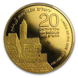 2010 Israel 1 oz Gold Tower of David MS-69 PCGS