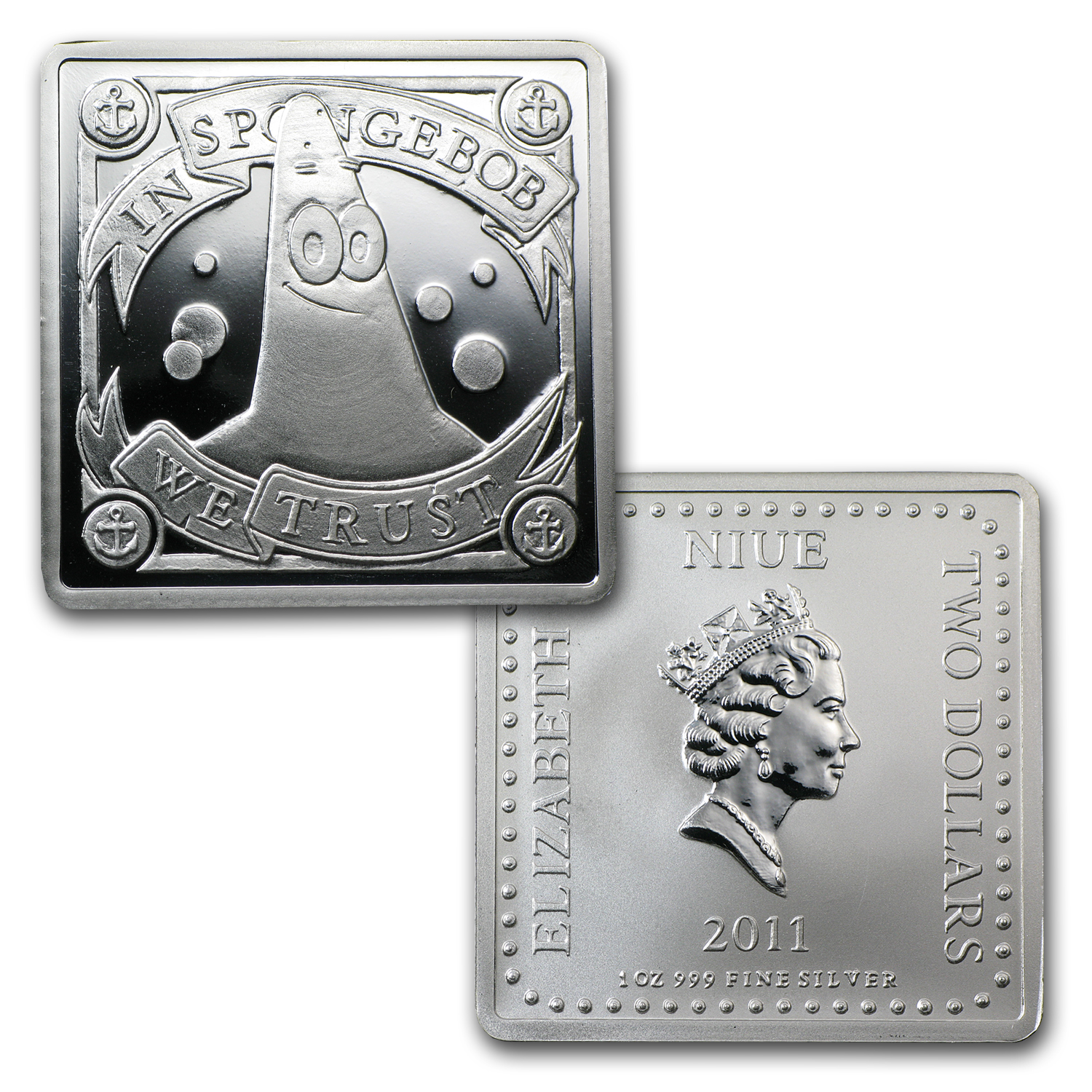 2011 4x 1 oz Silver $2 Niue SpongeBob Pf Set (Treasure Chest Box)