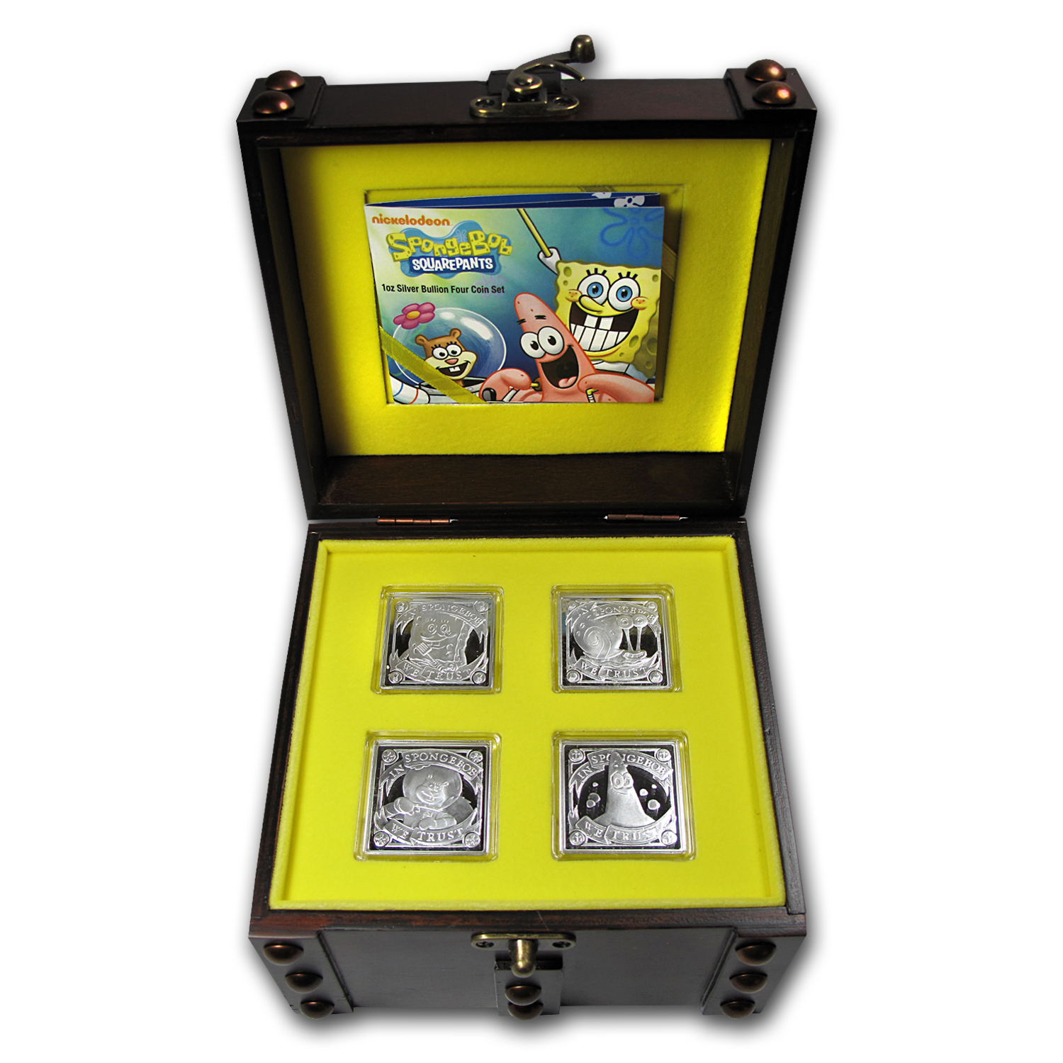 2011 Niue 4x 1 oz Silver $2 SpongeBob Pf Set (Treasure Chest Box)