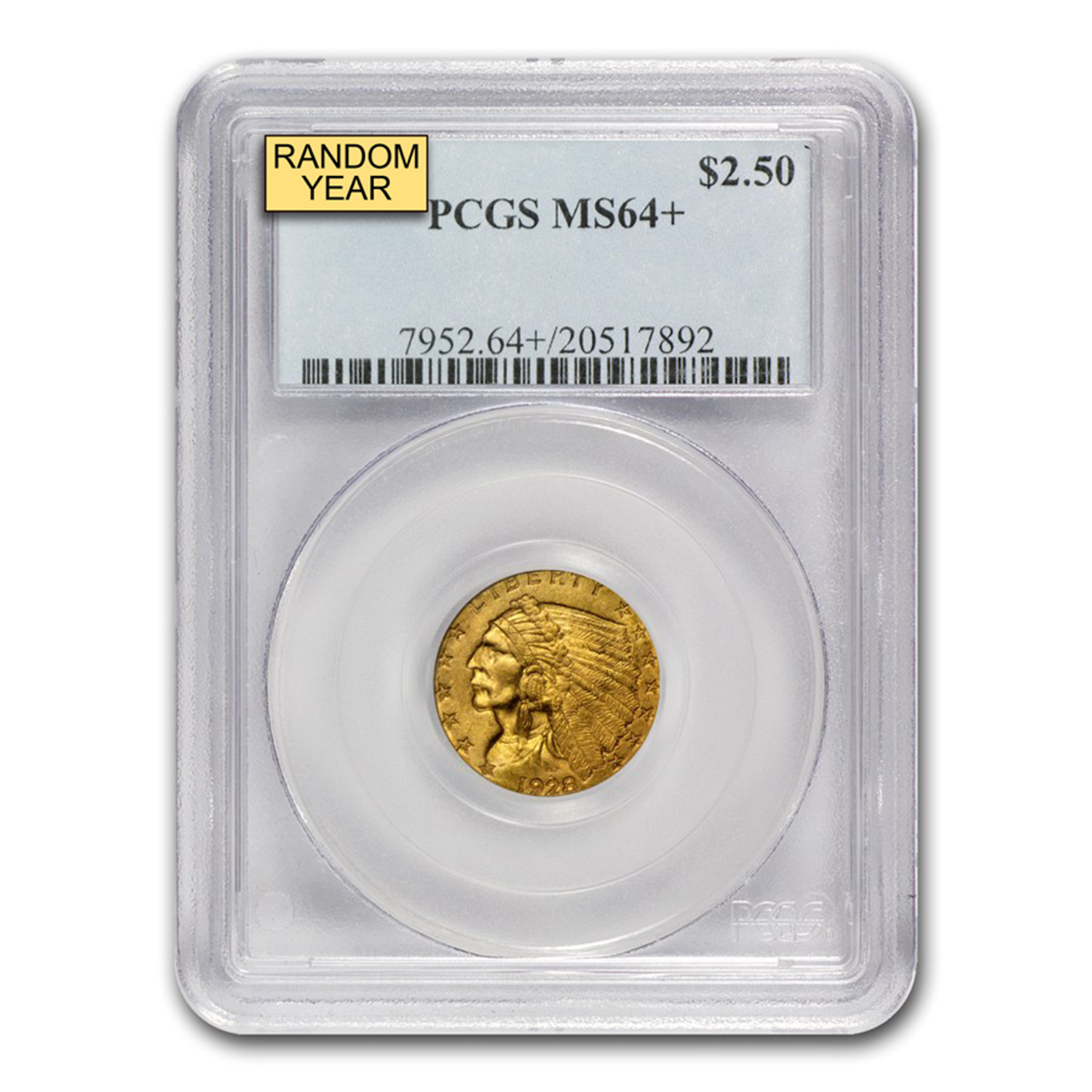 $2.50 Indian Gold Quarter Eagle MS-64+ PCGS