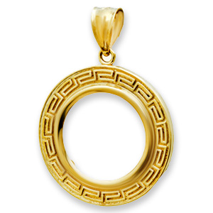 14K Gold Prong Greek Key Coin Bezel - 16.5 mm
