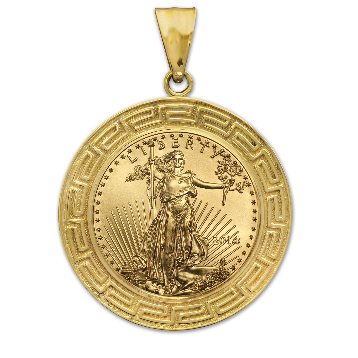 2014 1/4 oz Gold Eagle Pendant (Greek Key-Prong Bezel)
