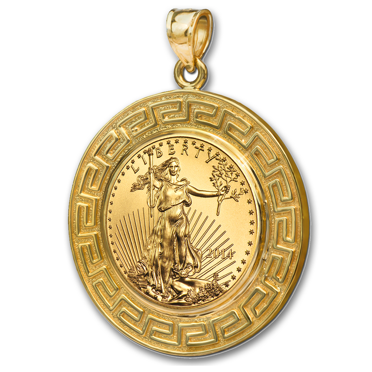 2014 1/10 oz Gold Eagle Pendant (Greek Key-Prong Bezel)