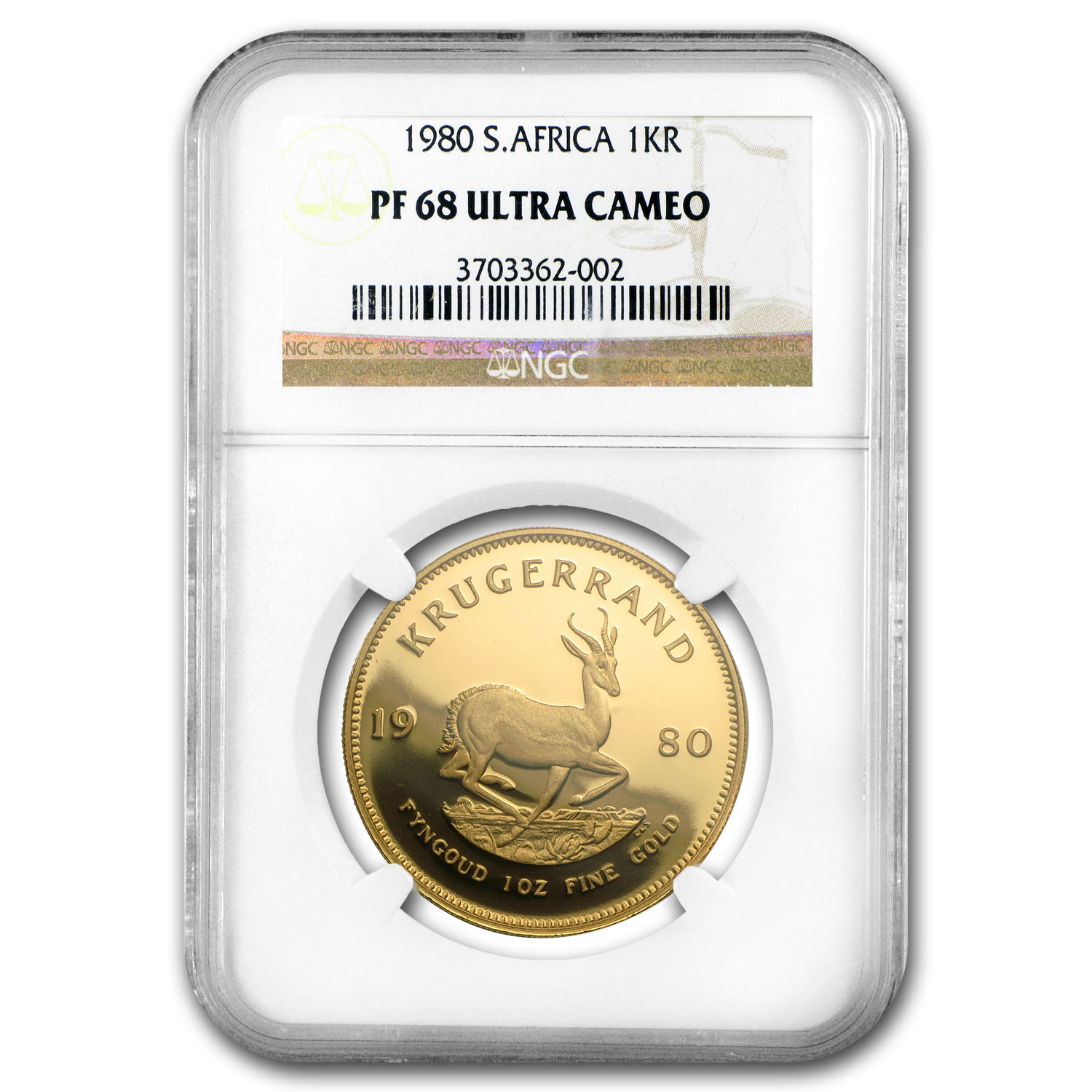 1980 South Africa 1 oz Gold Krugerrand PF-68 NGC