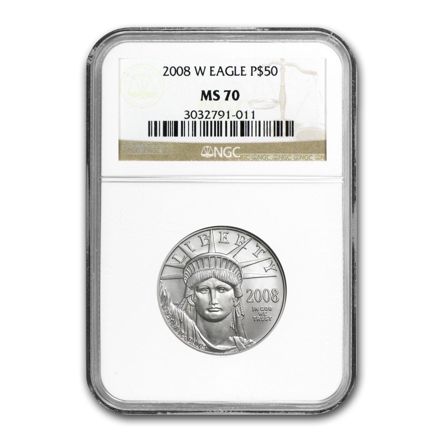 2008-W 1/2 oz Burnished Platinum American Eagle MS-70 NGC