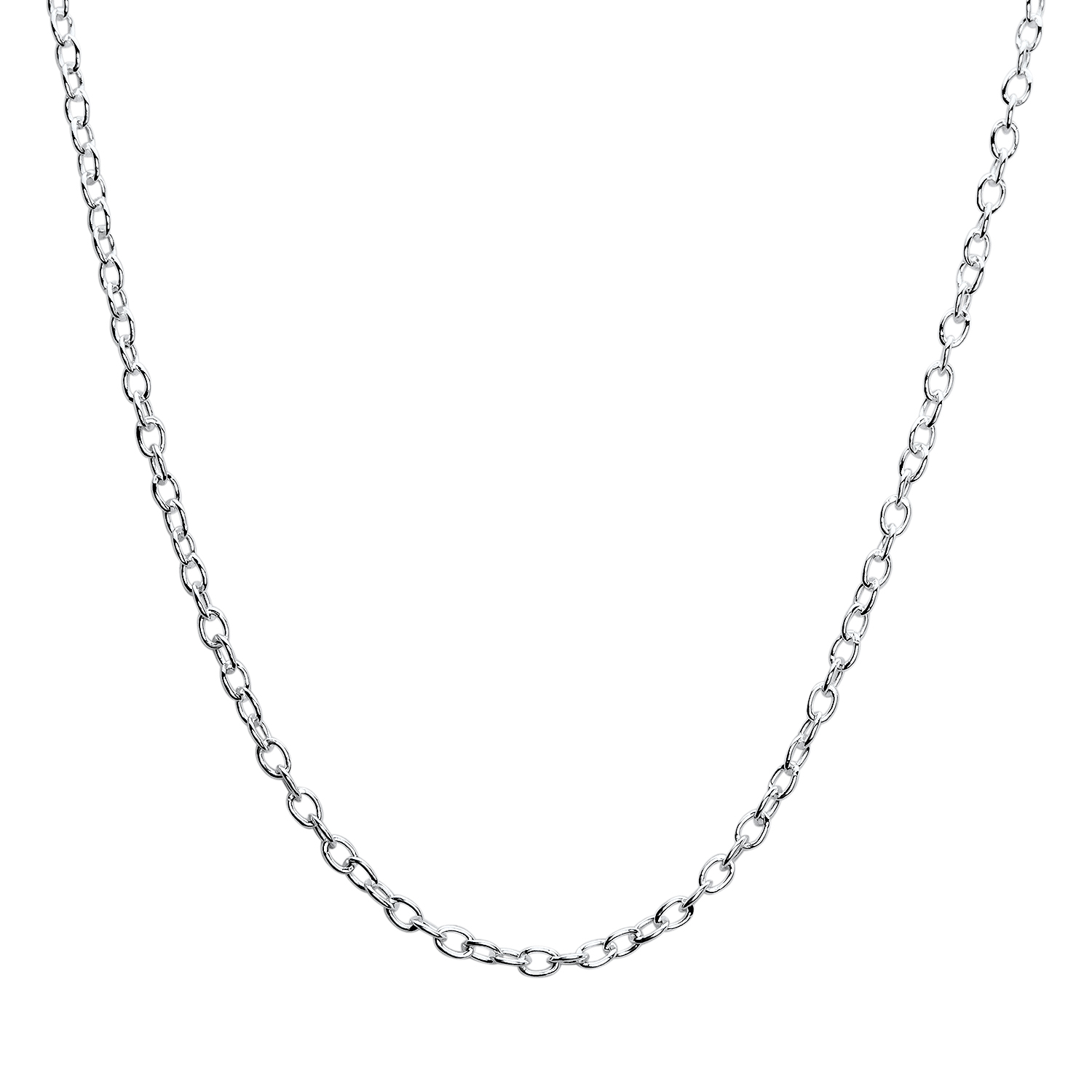 Fancy Rolo Sterling Silver Necklace - 18 in.