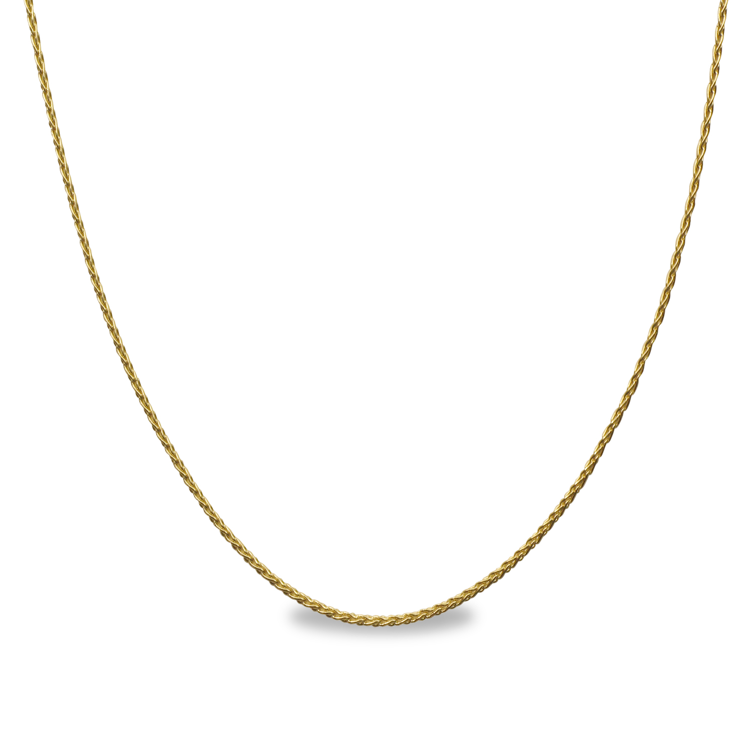 Round Wheat 14k Gold Necklace 18 In Gold Pendant
