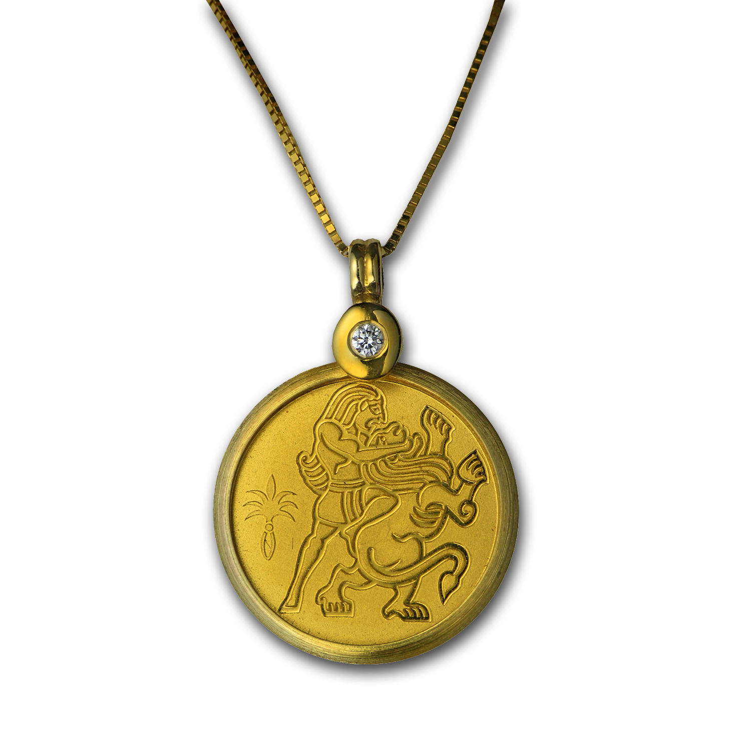 Israel Samson and the Lion Gold Coin, Pendant & Necklace
