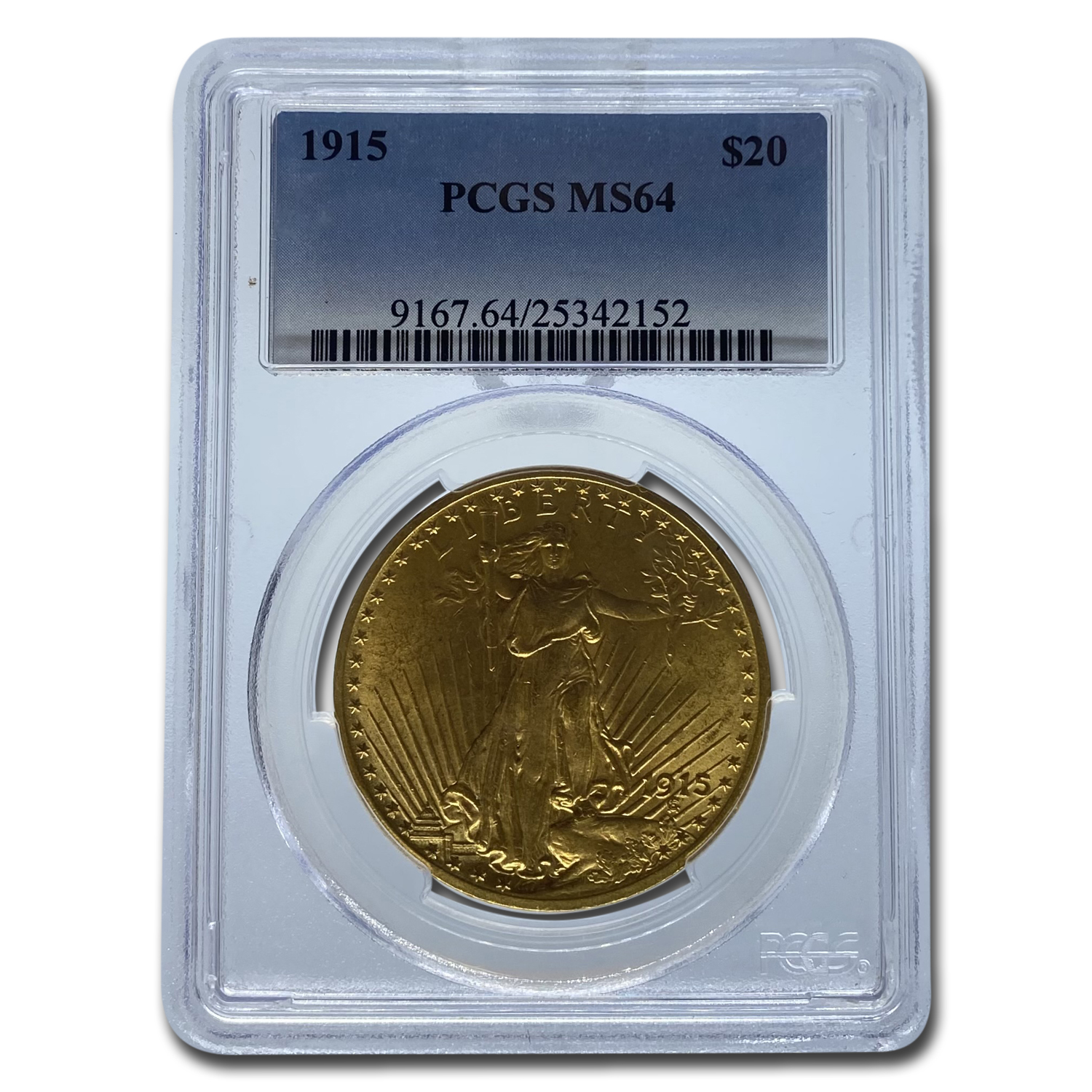 1915 $20 St. Gaudens Gold Double Eagle - MS-64 PCGS