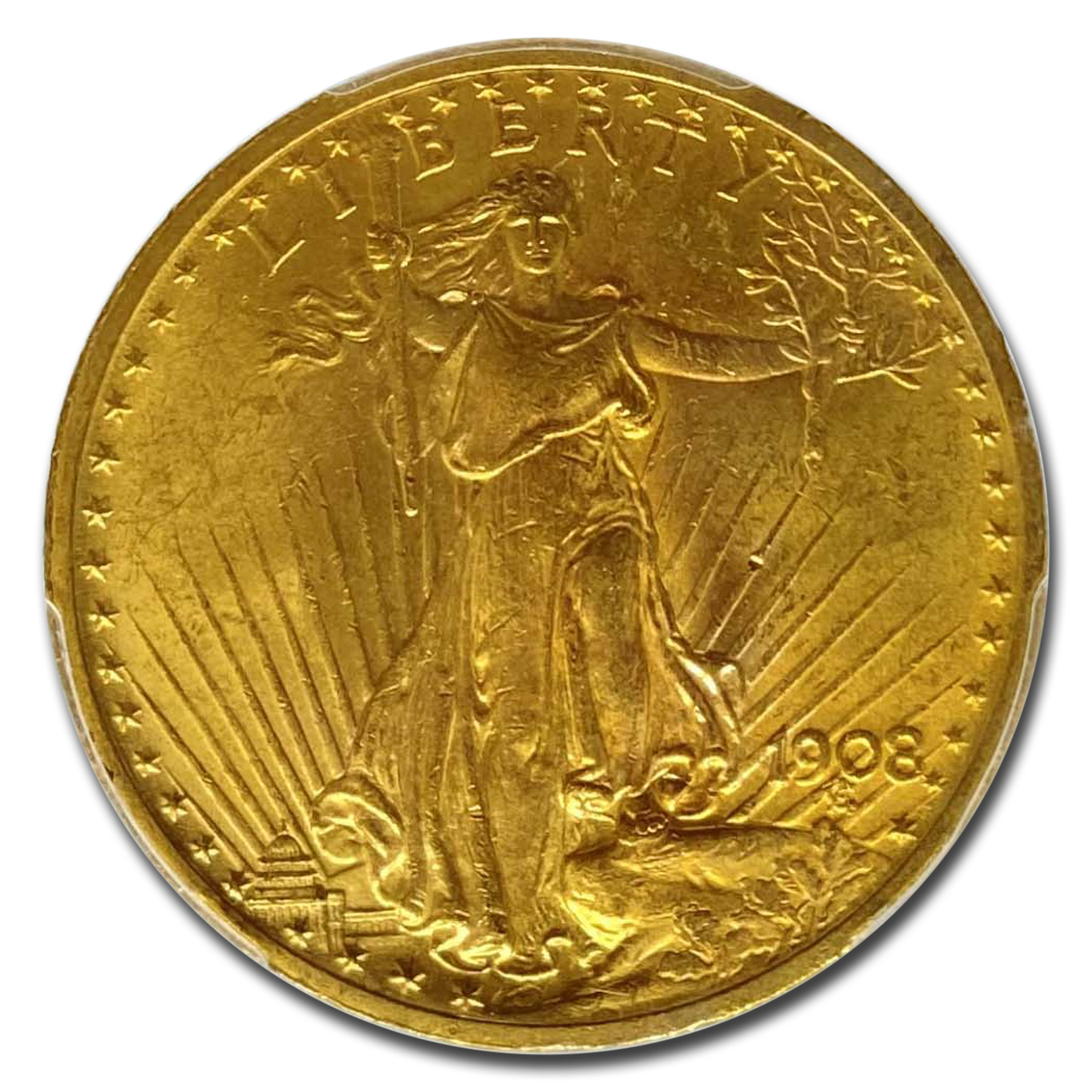 1908 $20 St. Gaudens Gold w/Motto MS-64 PCGS