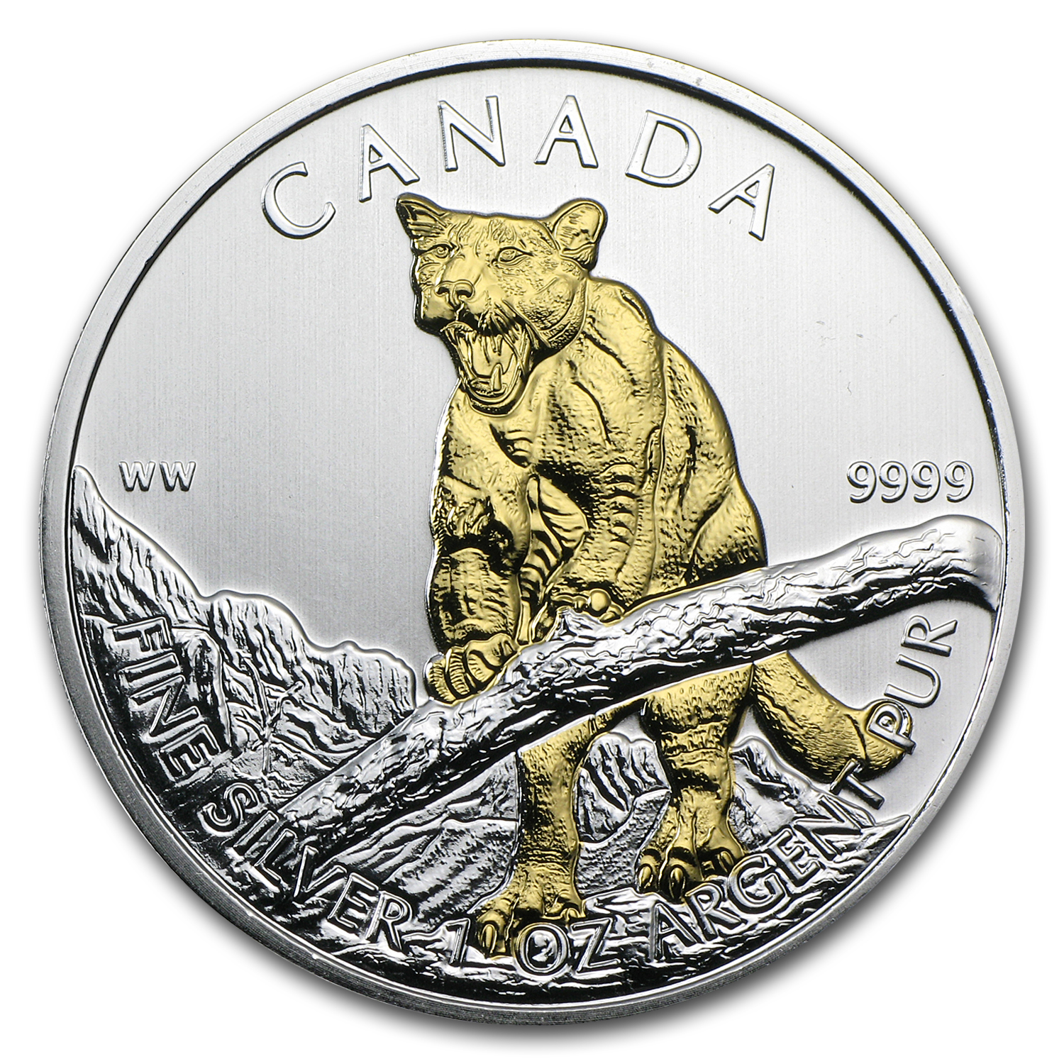 2012 1 oz Silver Canadian Wildlife Series Cougar (Gilded)