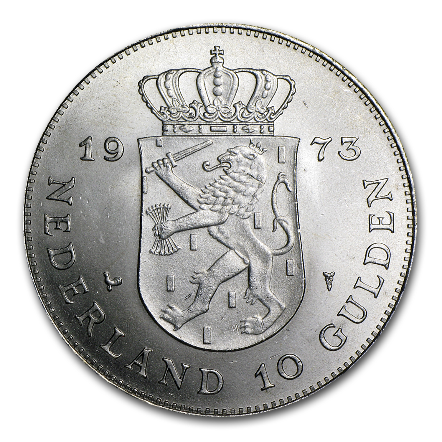 1973 Netherlands Silver 10 Gulden Juliana AU/BU (.5787 ASW)