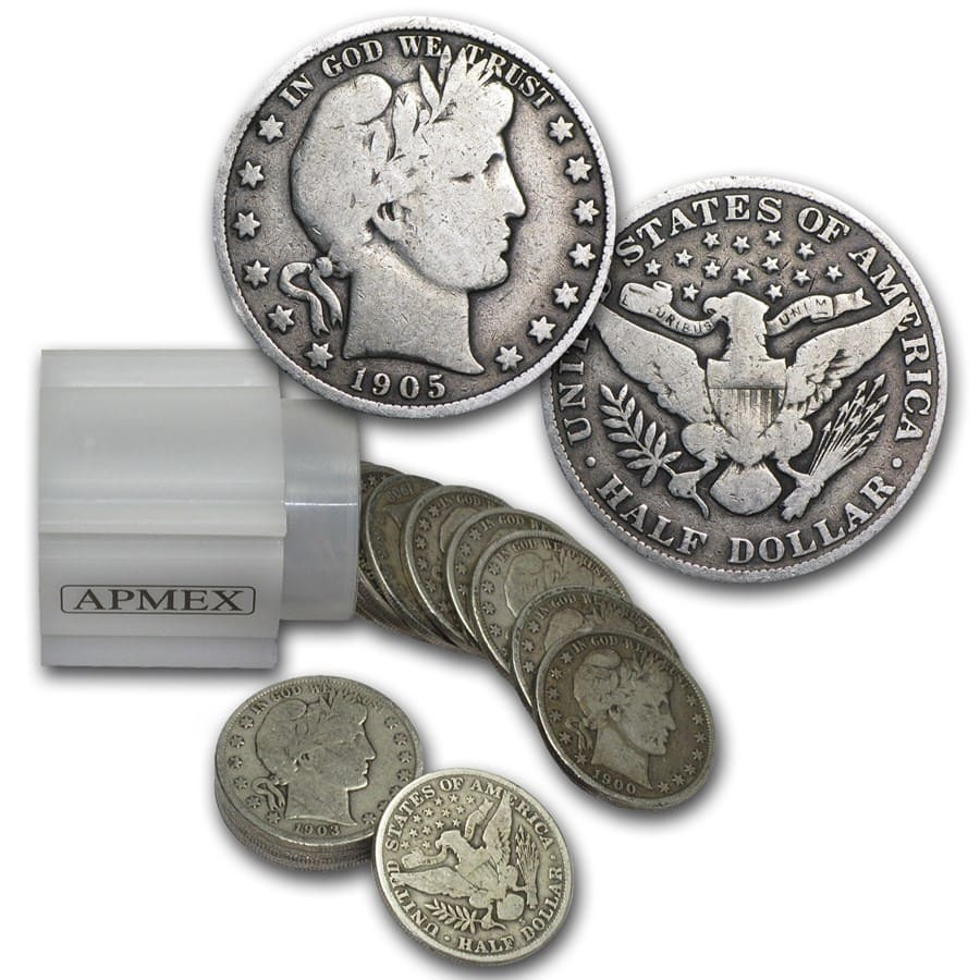 90% Silver Barber Halves $10 20-Coin Roll VG+