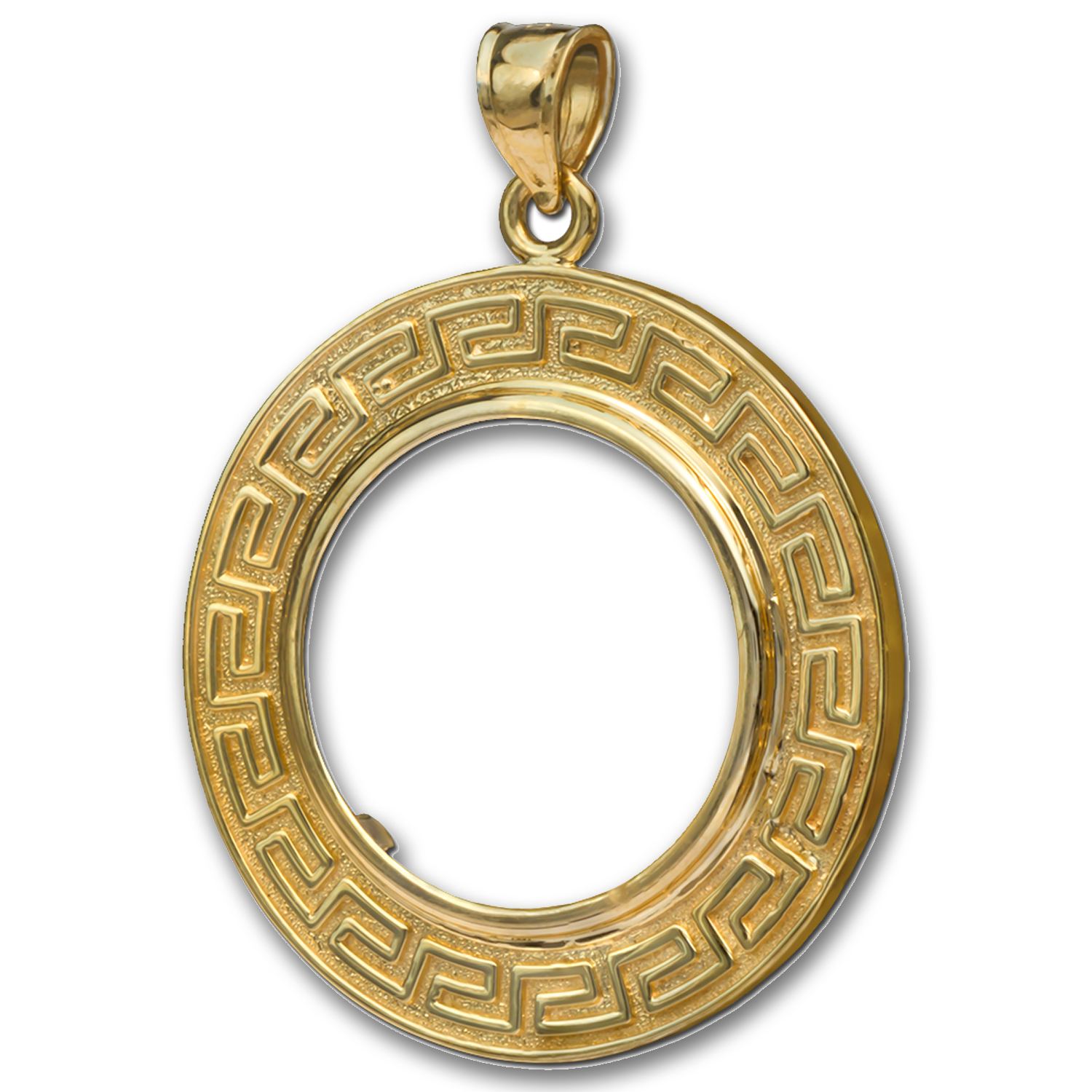 14K Gold Prong Greek Key Coin Bezel - 14 mm