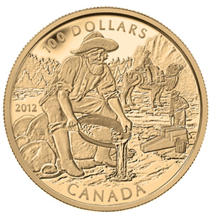 2012 Canada Prf Gold $100 Cariboo Gold Rush 150th Anniv (w/Box)
