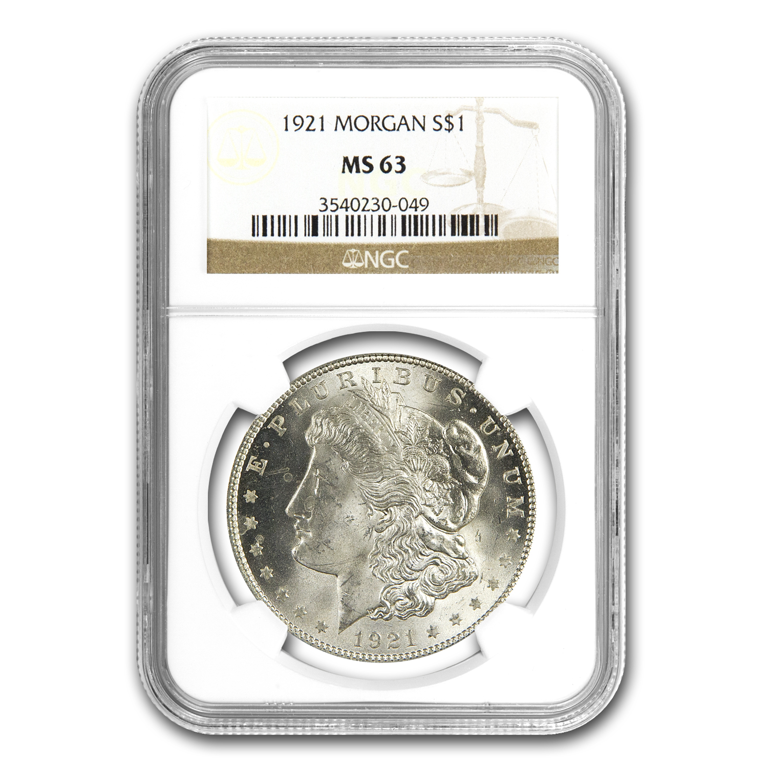 1921 Morgan Dollar 3 Coin P, D & S Mint's Set MS-63 NGC