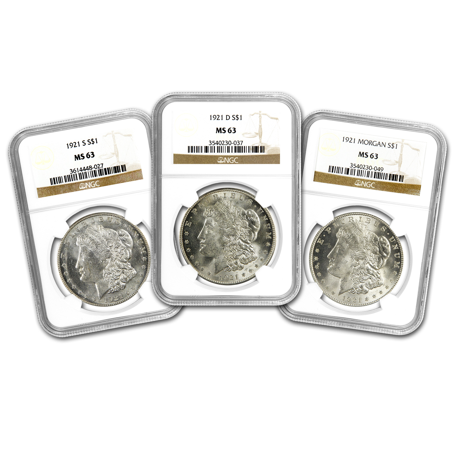 1921 Morgan Dollar MS-63 NGC (3 Coin P, D & S Mint Set)