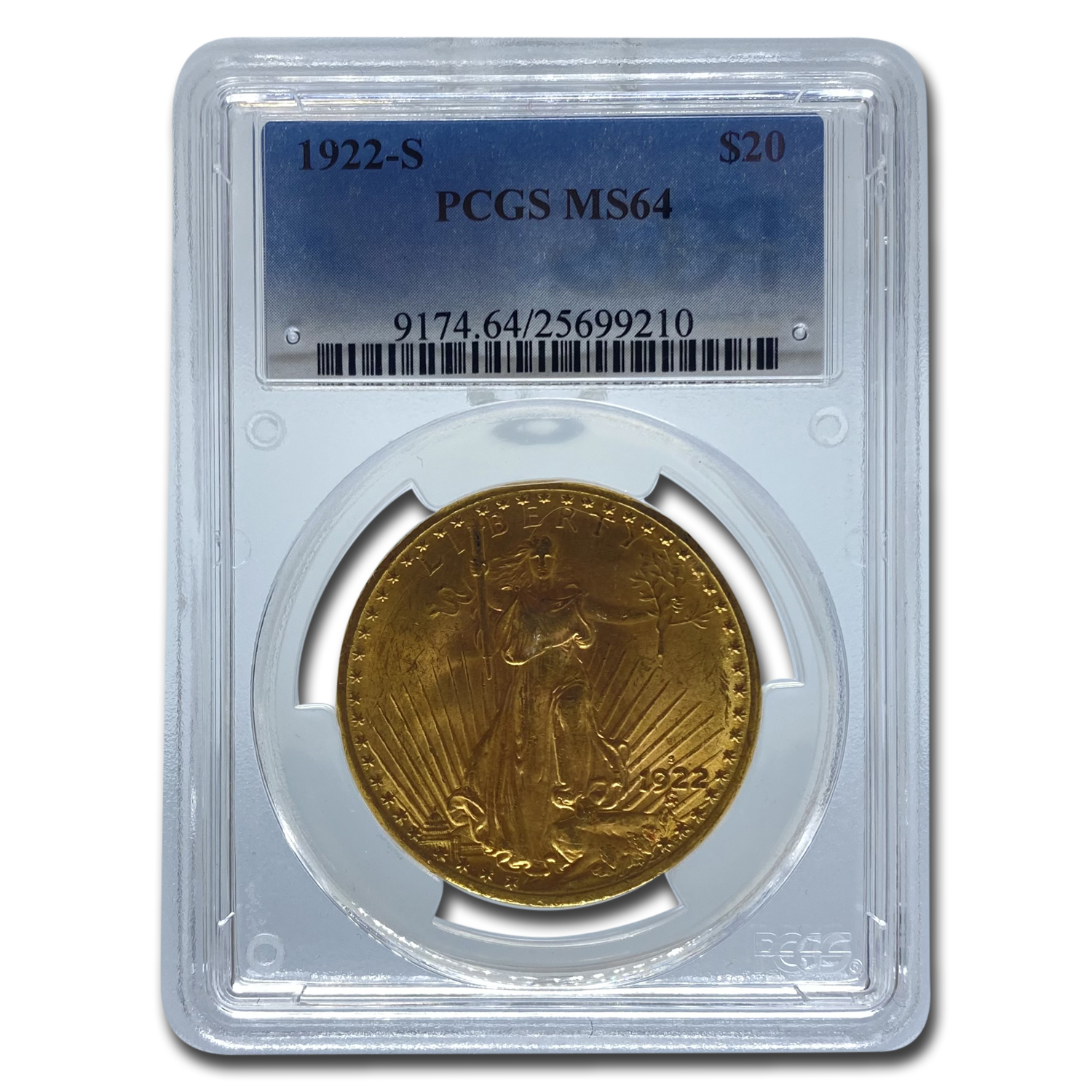 1922-S $20 St. Gaudens Gold Double Eagle - MS-64 PCGS