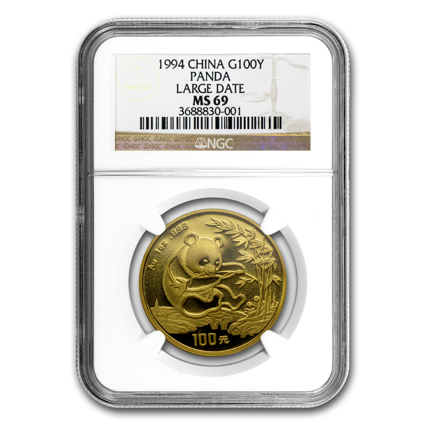 1994 China 1 oz Gold Panda Large Date MS-69 NGC