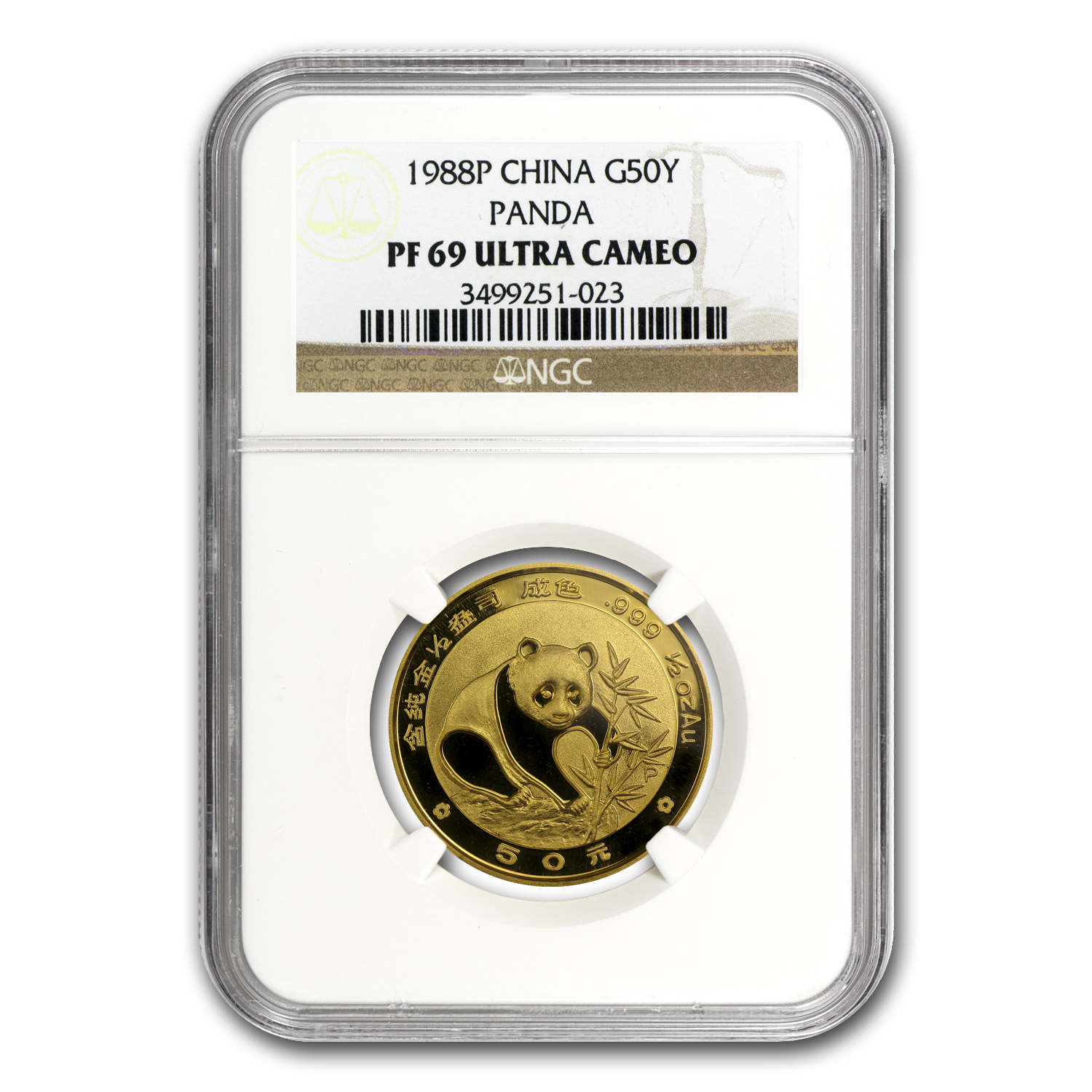 1988 (1/2 oz Proof) Gold Chinese Pandas - PF-69 UCAM NGC