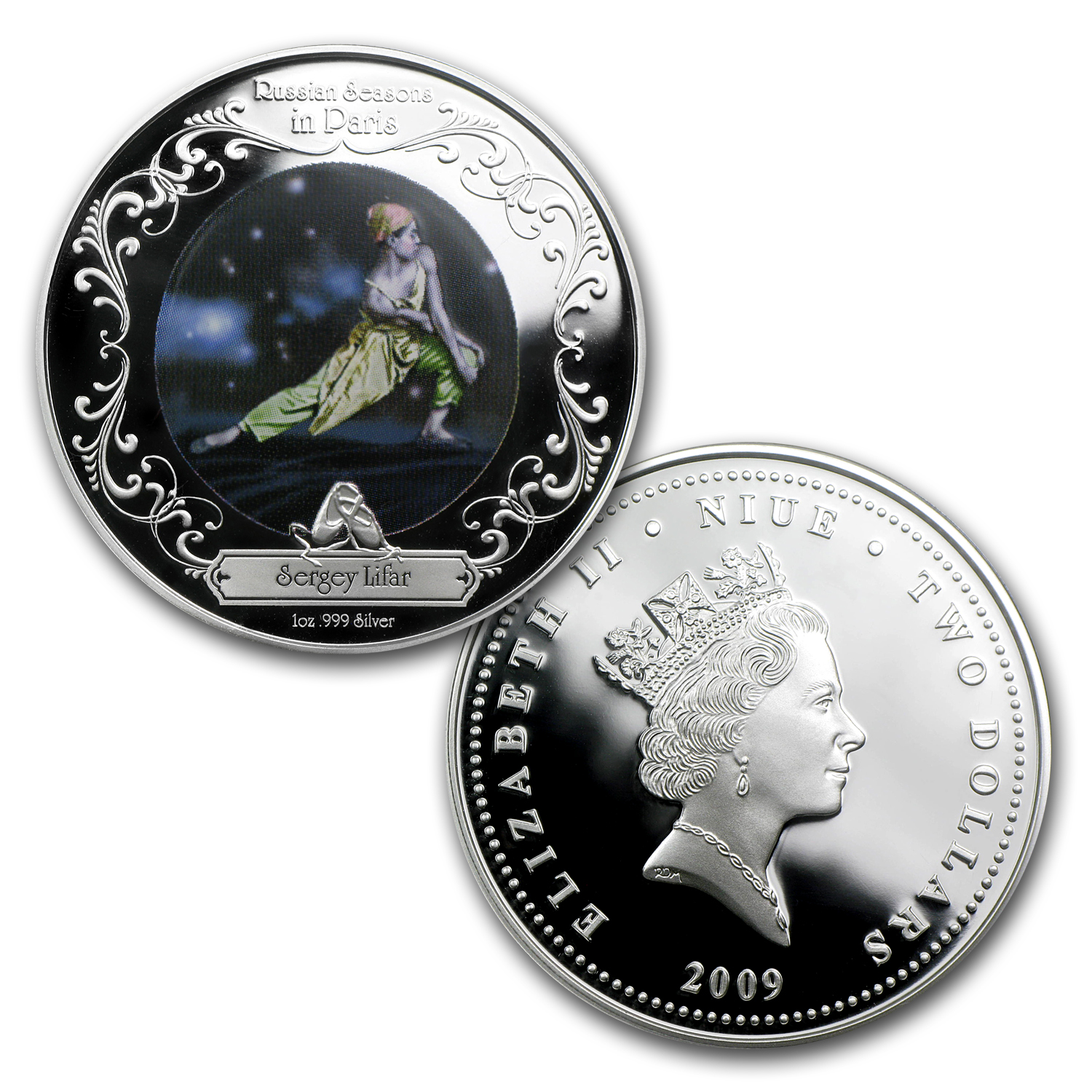 2009 3x 1 oz Silver $2 Niue Russian Ballet Set BU (Music Box)