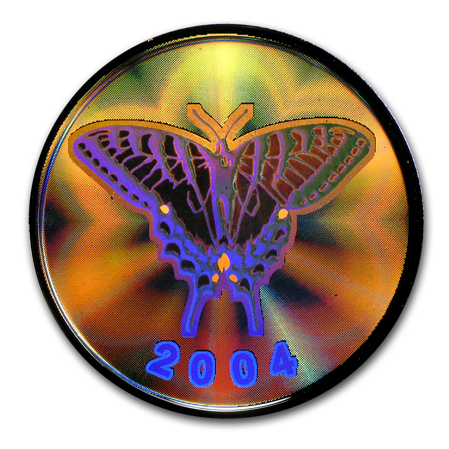 2004 Silver Canadian $0.50 Swallowtail Butterfly Hologram (W/Box)
