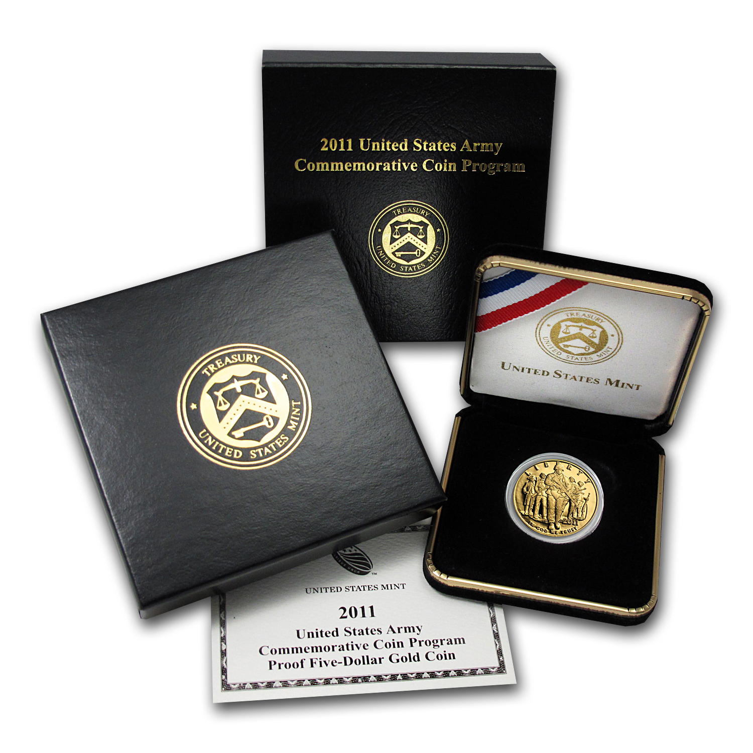 2011-W Gold $5 Commem Army Proof (w/Box & COA)
