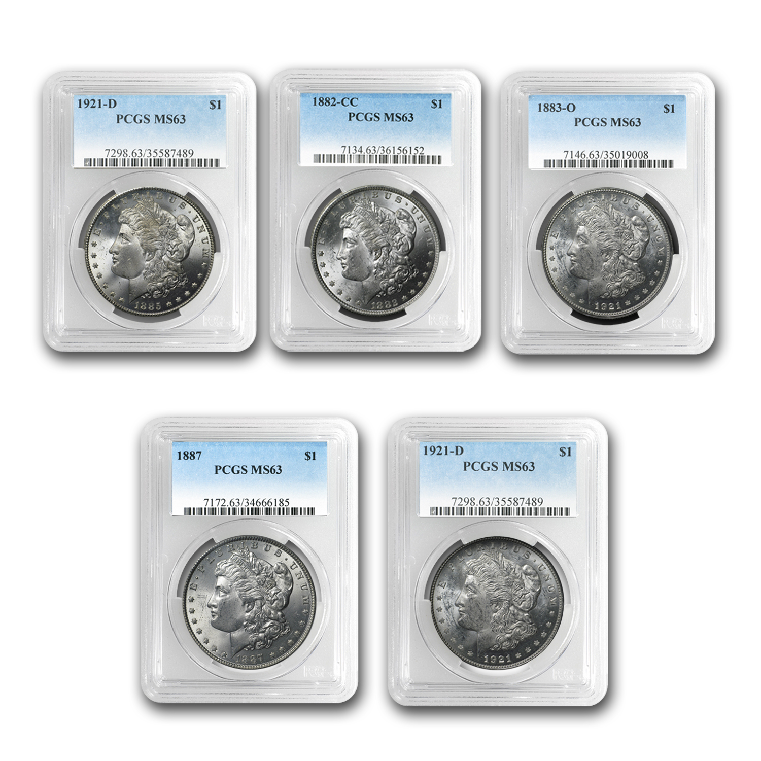 1878-1921 5-Coin Morgan Dollar Mintmark Set MS-63 PCGS