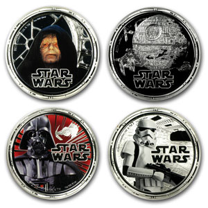 2011 2x 4-Coin Silver Star Wars Dark Side & Rebels Prf Sets (8pc)