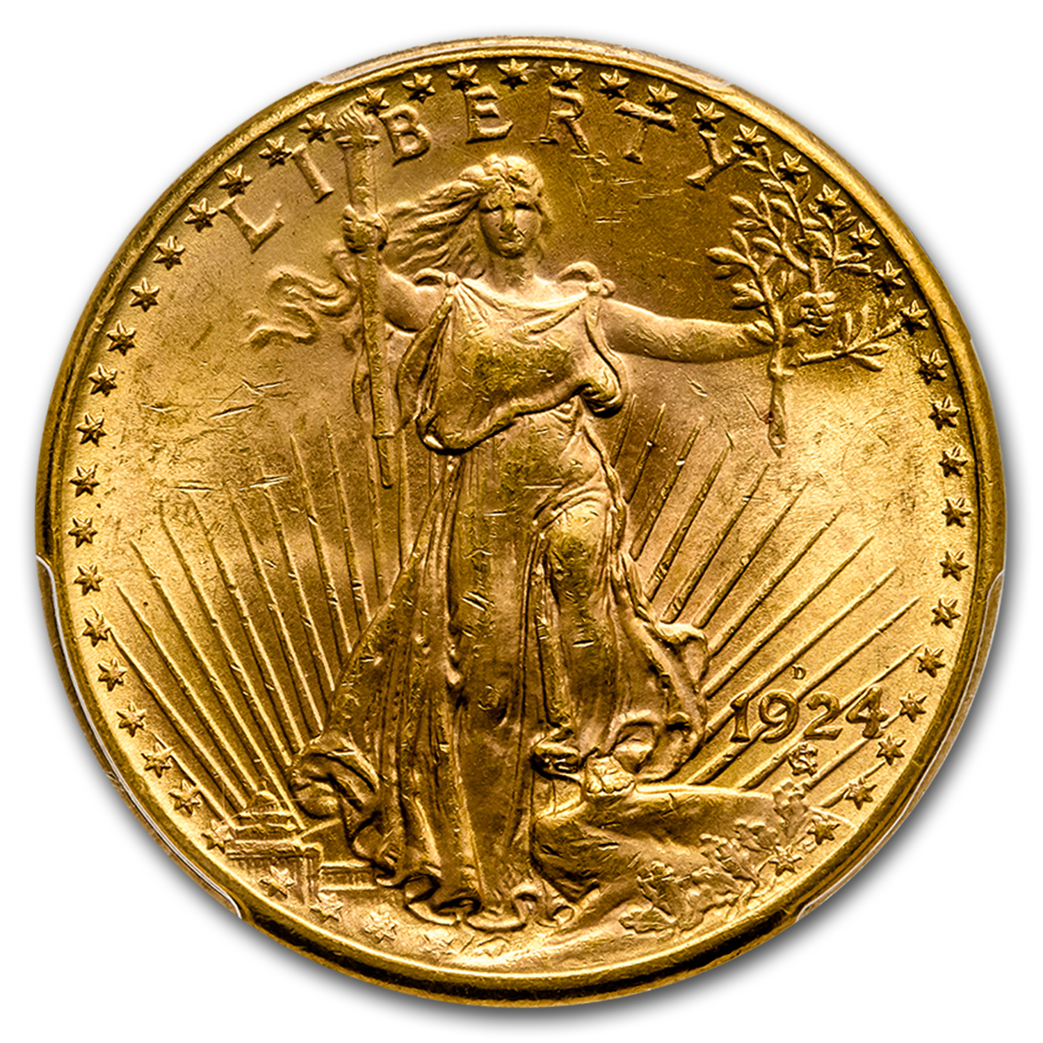1924-D $20 St. Gaudens Gold Double Eagle - MS-63 PCGS