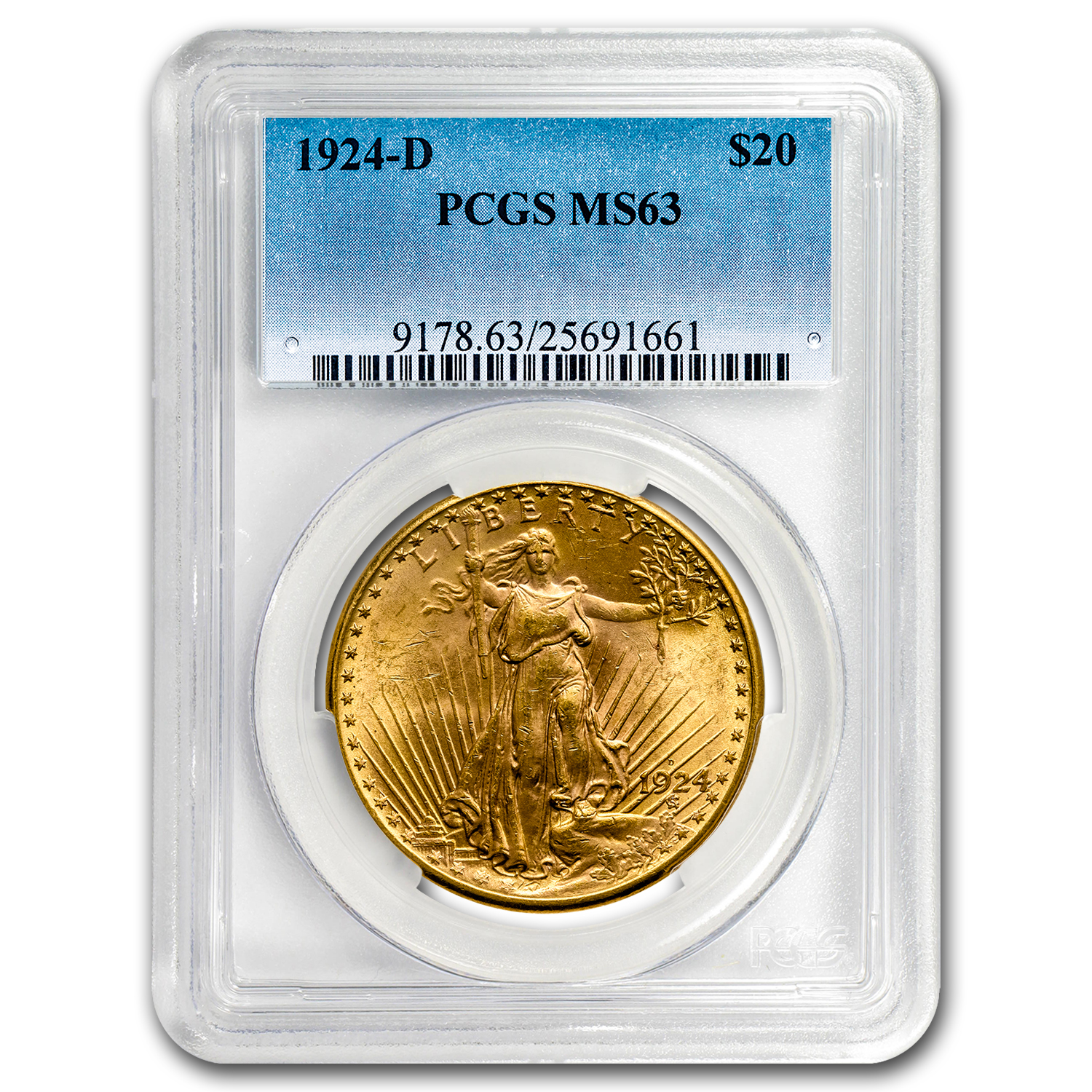 1924-D $20 St. Gaudens Gold Double Eagle MS-63 PCGS