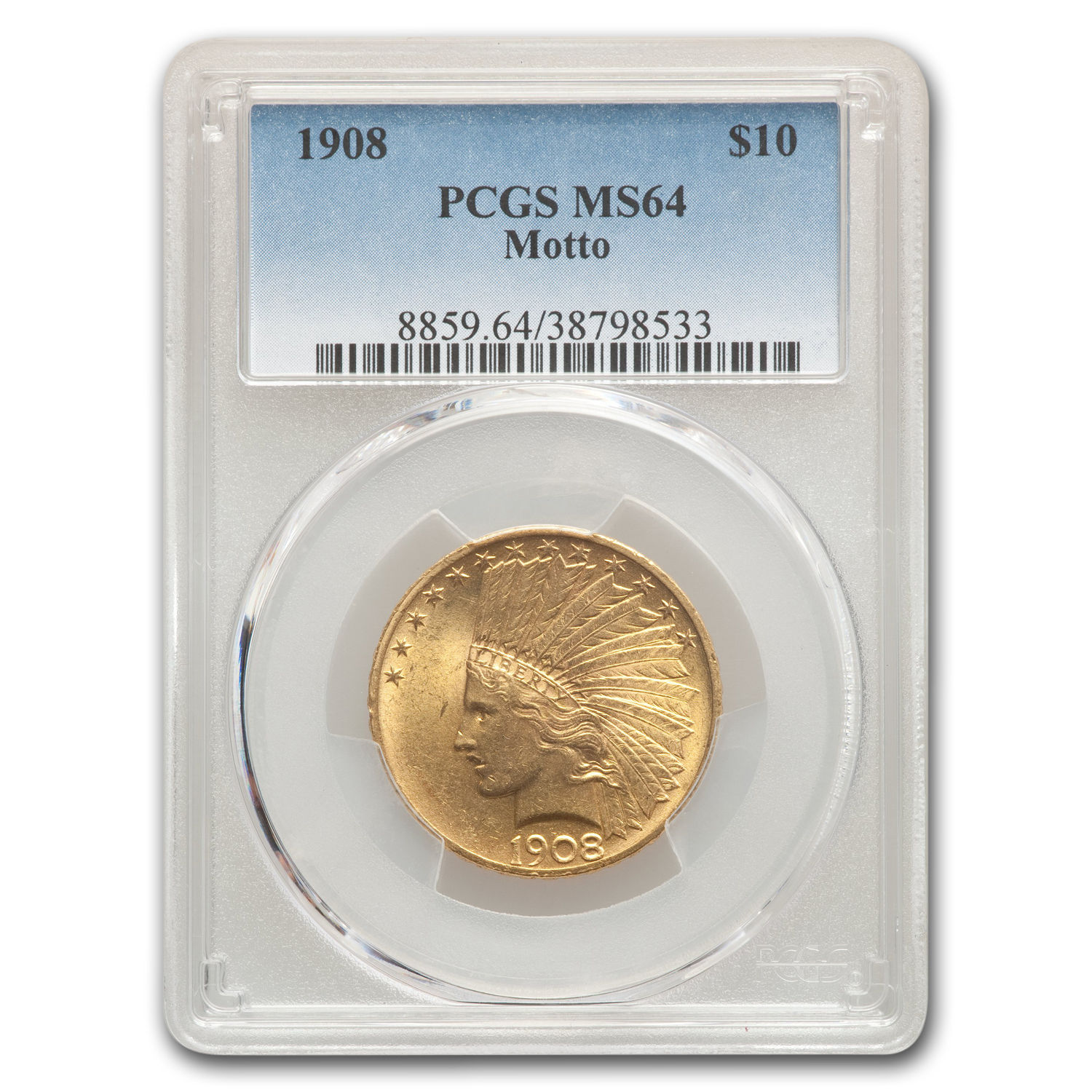 1908 $10 Indian Gold Eagle w/Motto MS-64 PCGS
