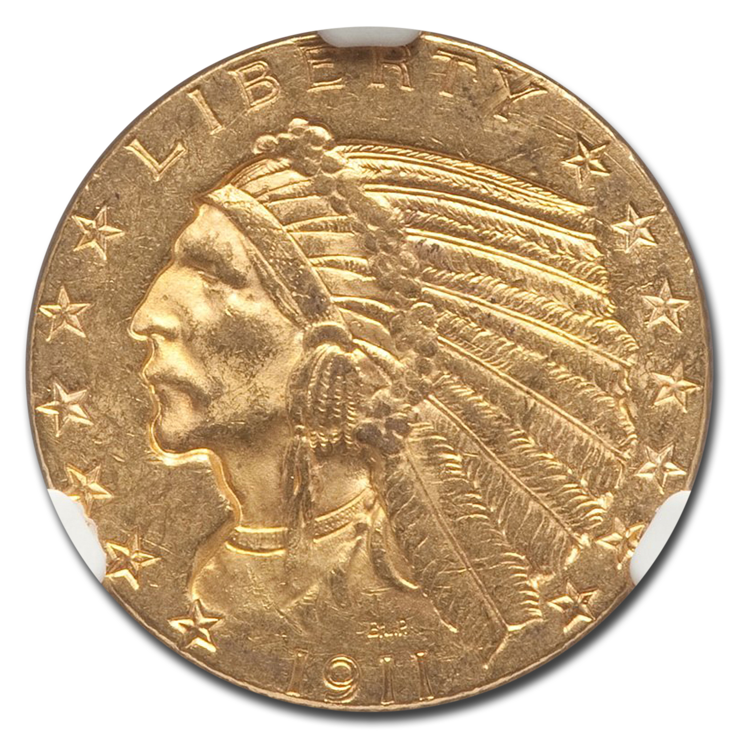 1911-S $5 Indian Gold Half Eagle MS-62 NGC
