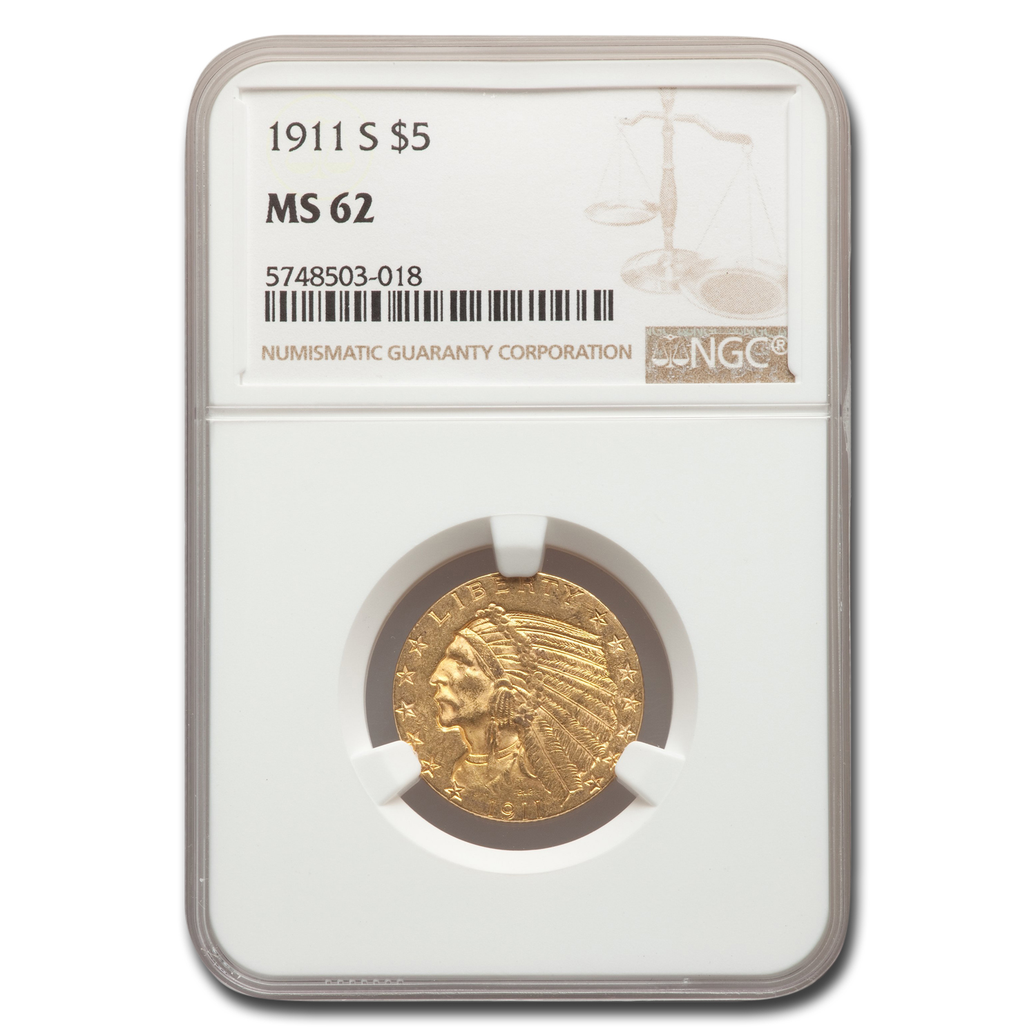 1911-S $5 Indian Gold Half Eagle - MS-62 NGC
