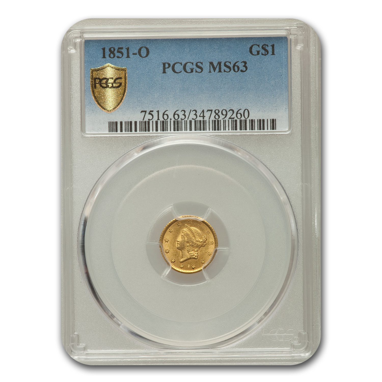 1851-O $1 Liberty Head Gold MS-63 PCGS