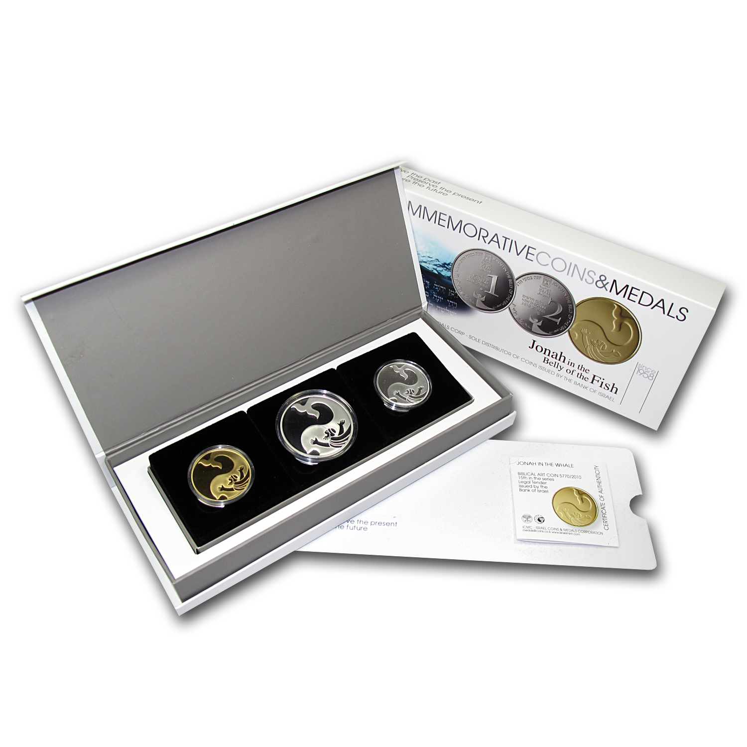 2010 Israel 3-Coin Gold & Silver Jonah in the Whale Proof Set
