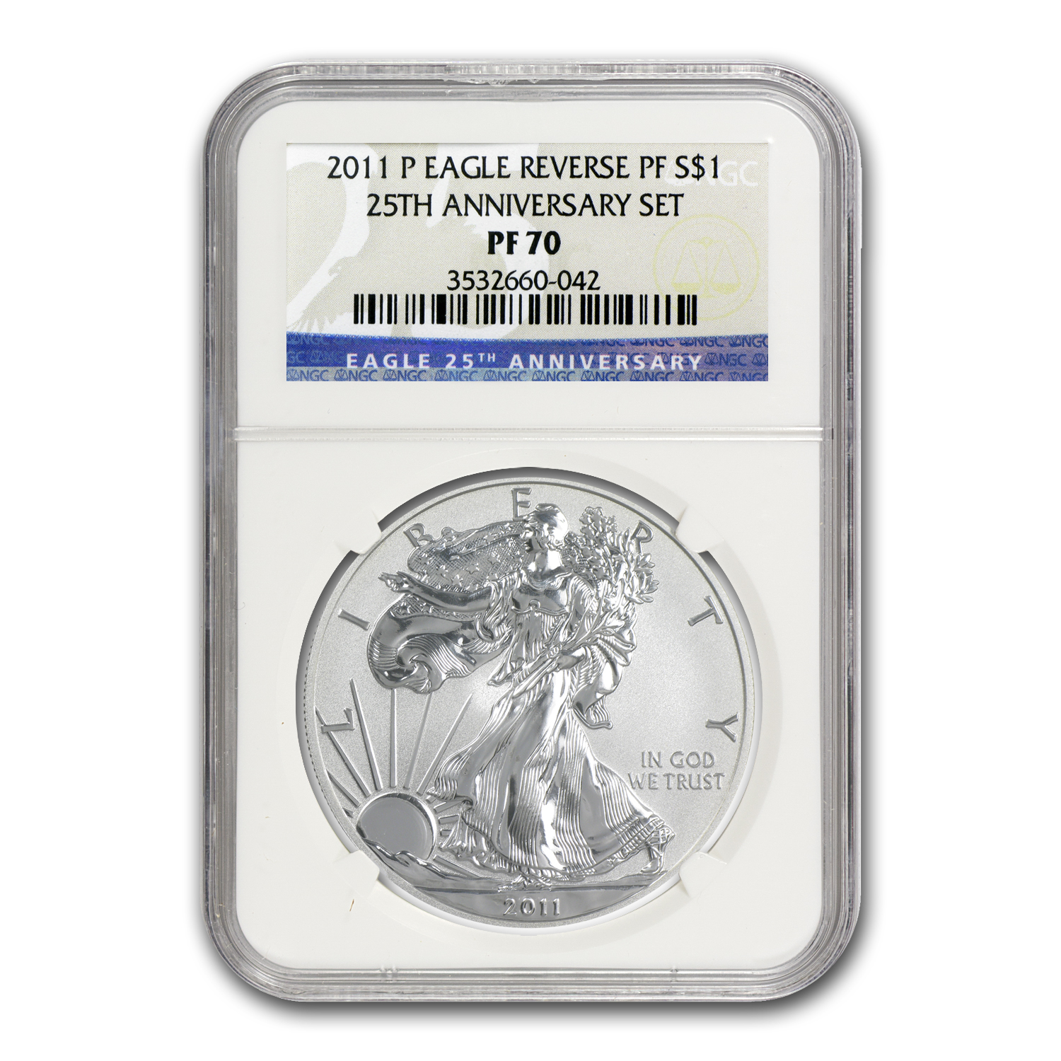 2011 Silver Eagle Set - MS/PF-70 NGC - 5 Coins - 25th Anniv