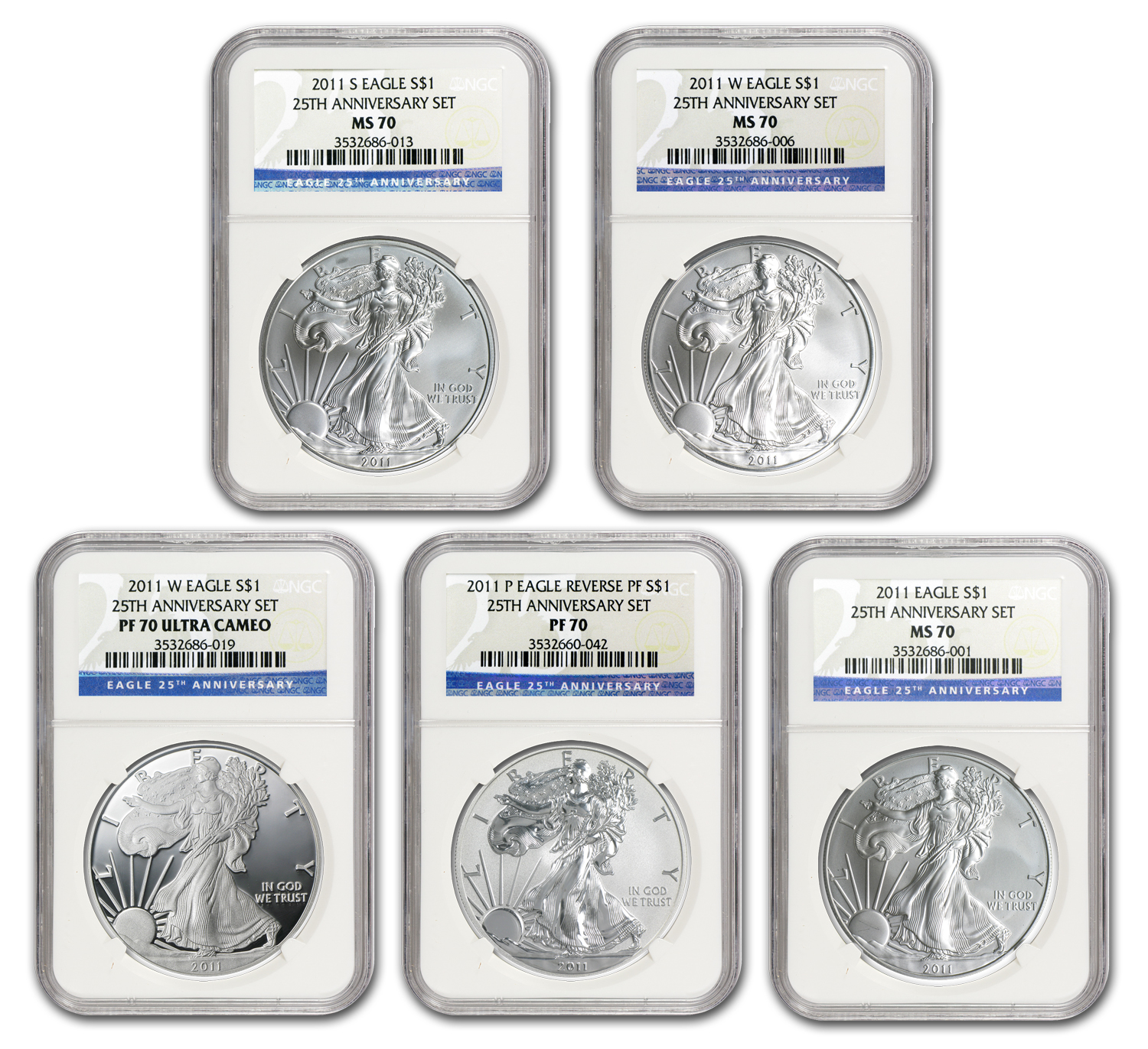 2011 5-Coin Silver American Eagle Set MS/PF-70 NGC (25th Anniv)