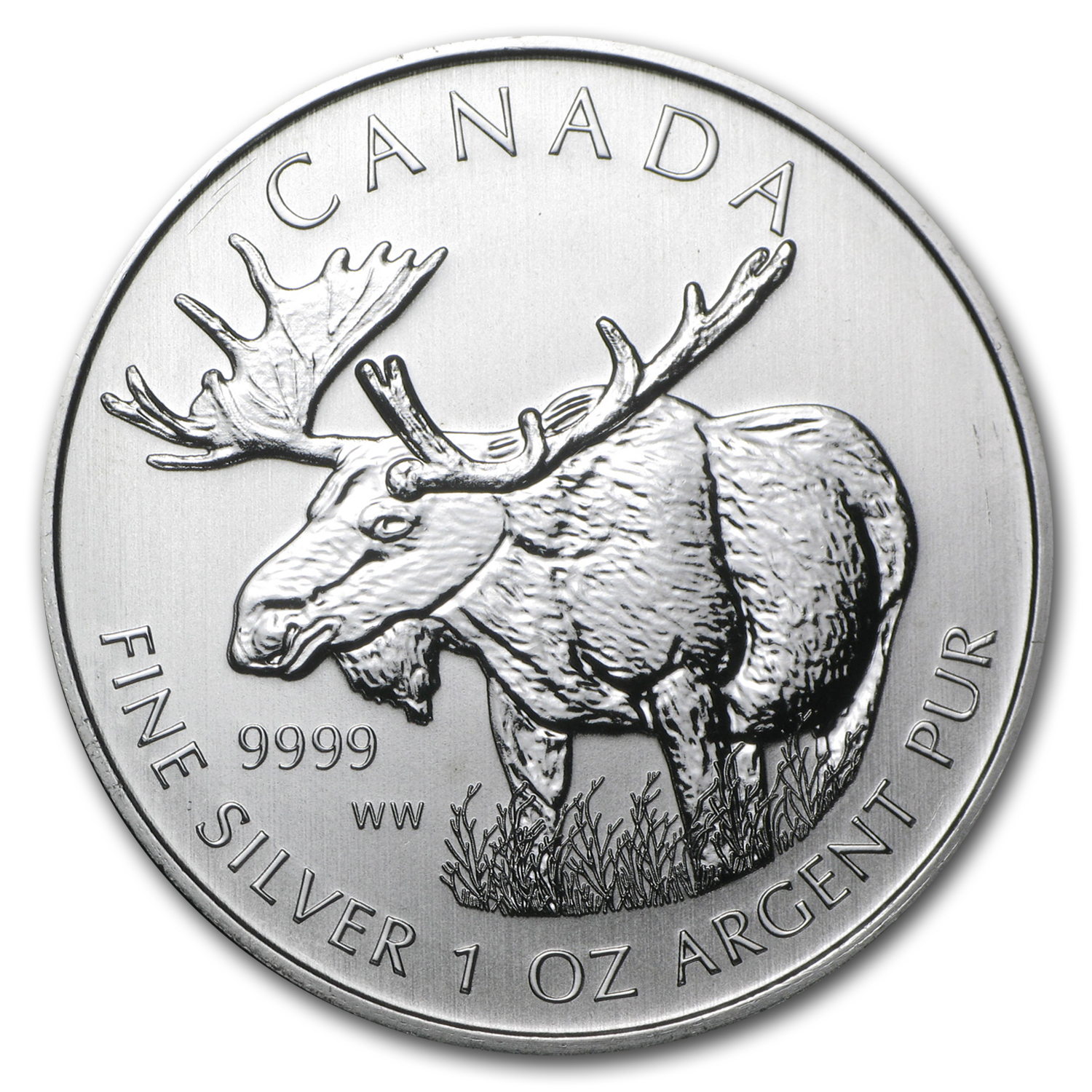 2012 1 oz Silver Canadian Wildlife Series Moose
