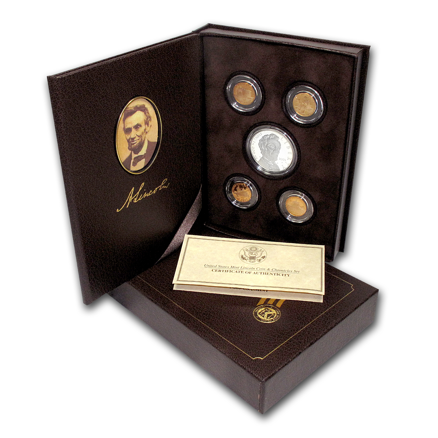 2009-P 5-Pc Lincoln Chronicles $1 Silver Commem Pf Set (Box/COA)