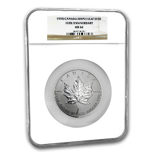 1998 Canada 10 oz Silver Maple Leaf MS-66 NGC (10th Anniv)