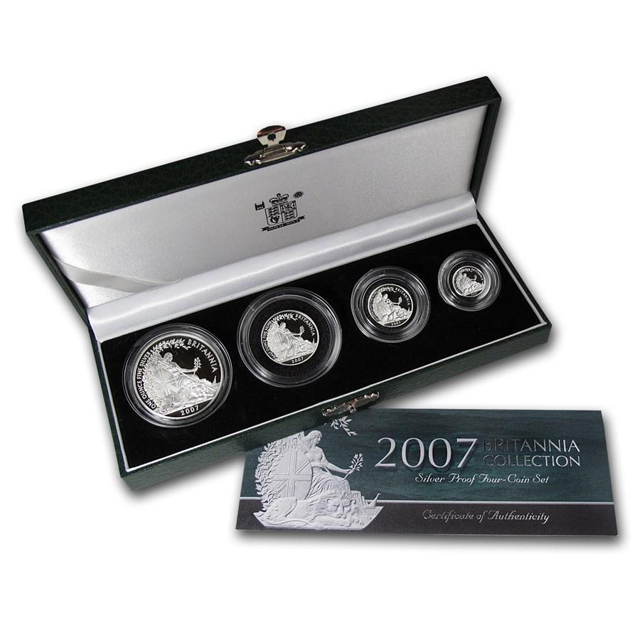 2007 Gb 4 Coin Silver Britannia Proof Set W Box Amp Coa