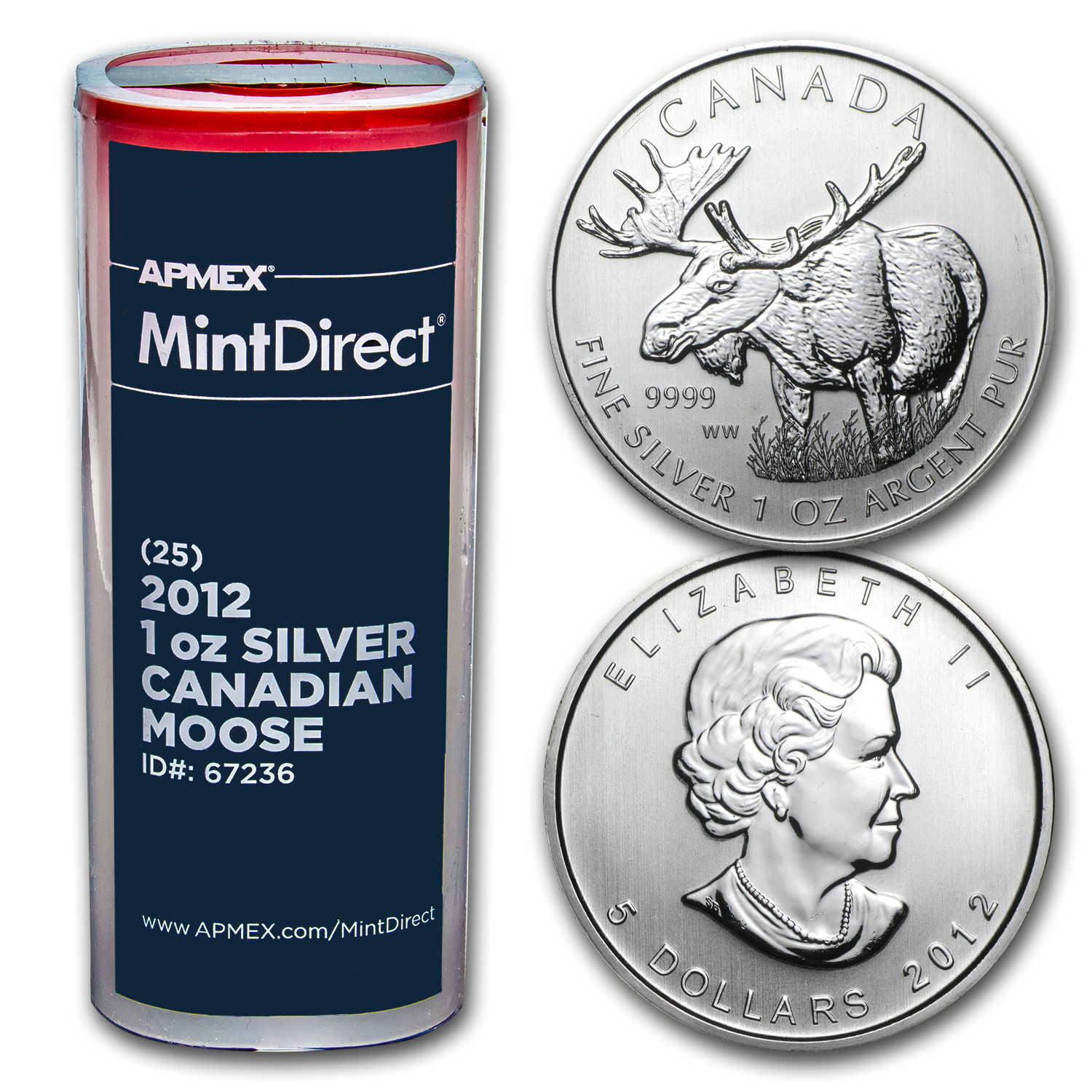 2012 1 oz Silver Canadian Moose 25-Coin MintDirect® Tube