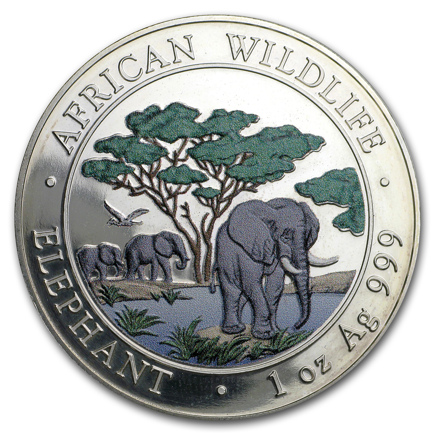 2012 1 oz Silver Somalian African Elephant (Colorized)